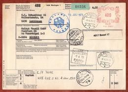 Paketkarte, Freistempel, Wettingen Ueber Basel Freiburg Velbert Nach Neviges 1973 (97631) - Svizzera