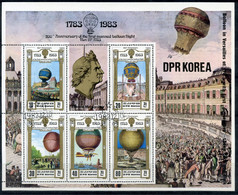 DPRK (NORTH KOREA) 1982 2311-2315 (bl.136) 200th Anniversary Of Manned Flight. Balloons. Aviation - Korea, North