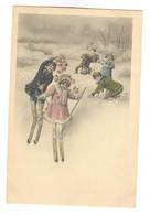E354 - Jolie Illustration -  Femme - Couple - Enfants - Ski - Neige - Ohne Zuordnung