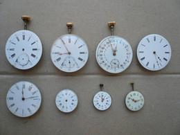 Lot De 8 Mouvements De Montre à Gousset (pour Les Pièces) - Montres Anciennes