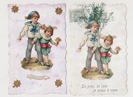 2 Jolies Cpa Fantaisie Avec Découpis  / Garçon En Costume Marin , Fillette , Fleurs , Amitié - Niños