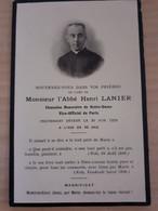 Faire-part Deces Abbé Henri Lanier Chanoine De Notre Dame Vice Official De Paris 1929 - Obituary Notices