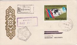 Air Mail To Merksem (Belgium) - World Telecommunication Day 1972 - Mongolia