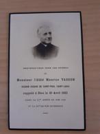 Faire Part Abbé Maurice Vasson Second Vicaire De Saint Paul Saint Louis (paroisse Du Marais Paris) 1933 - Obituary Notices
