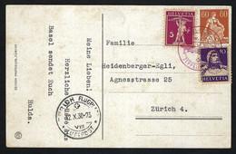 """SUISSE 1930: CP Ill. De Zürich-Flugpost Intra Muros Avec Vol """"Zeppelin"""" CAD Rouge Et Les ZNr.140,170,184 , Obl. CAD - Posta Aerea"""