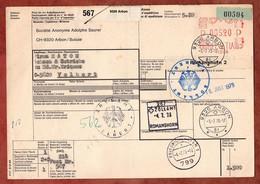 Paketkarte, Freistempel, Arbon Ueber Romanshorn Friedrichshafen Nach Velbert 1973 (97637) - Svizzera