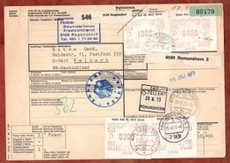 Paketkarte, Freistempel, Regensdorf Ueber Romanshorn Friedrichshafen Nach Velbert 1973 (97638) - Svizzera