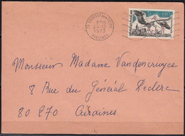 Cigogne D'Alsace Y.et.T. 1755 SEUL Sur Enveloppe  De 78 CROISSY S SEINE Postée  Le 24 12 1973 Pour 80 AIRAINES - Marcophilie (Lettres)