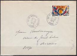 DOUANE   Y.et.T. 1890  SEUL Sur Enveloppe Complète De 02 St QUENTIN EUROPE Postée Le 16 12 1976 Pour 80270 AIRAINES - Marcophilie (Lettres)