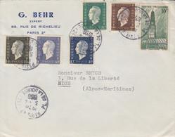 Lettre à Entête (Behr) Obl Paris 47 Le 5/4/56 Sur 40c, 60c, 80c, 1f20, 2f00 Dulac + 10f Arras Pour Nice - 1944-45 Marianne Van Dulac