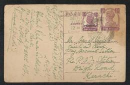 British India With Pakistan Overprint Stamps 1947 Postal Stationery Used Postcard - Pakistan
