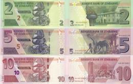 ZIMBABWE Set Of 3v: 2 5 10 Dollars 2019 - 2020 P New UNC - Zimbabwe