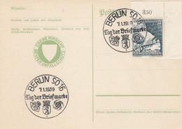 Deutsches Reich Postkarte 1939 Tag Der Briefmarke + Werbung - Brieven En Documenten