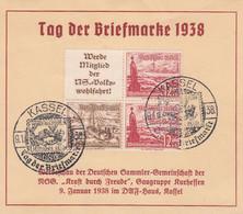 Deutsches Reich Gedenkblatt 1938 Tag Der Briefmarke - Brieven En Documenten