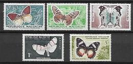 MADAGASCAR   -  1960 . Y&T N° 341 à 345 * .   Papillons - Madagascar (1960-...)