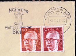 Germany Munich 1972 / Beer, München Stadt Weltberühmter Biere, City Of World Famous Beers / Machine Stamp - Bières