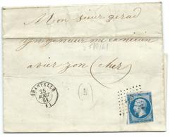 N° 14 BLEU NAPOLEON SUR LETTRE / CHANTELLE POUR VIERZON / 25 AOUT 1861 / LSC / PC 730 IND 6 - 1849-1876: Classic Period