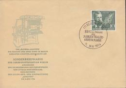 BERLIN  117, FDC, Ottmar Mergenthaler, 1954 - FDC: Covers