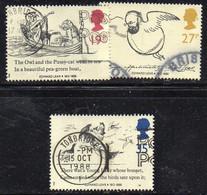 W2231 - GRAN BRETAGNA 1988, 3  Valori Usati (2380A). Edward Lear - 1952-.... (Elizabeth II)