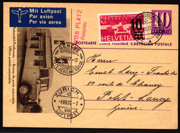 F21 Zusatzfrankatur Auf Luftpost Postkarte Gelaufen Mit SS A73 Davos Postplatz - Zürich Luftpost - Geneve Poste Aerienne - Posta Aerea
