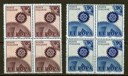 Italie - Italy - Italien 1967 Y&T N°968 à 969 - Michel N°1224 à 1225 *** - EUROPA - Bloc De 4 Timbres - 6. 1946-.. Republic