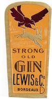 Etiquette  Strong Old  GIN  Lewis & C° Bordeaux 33 Aigle Et Lievre - Altri