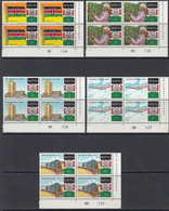 1988 Kenya Independence Anniversary Flags Trains Coffee  Complete Set Of 5 In Attractive Corner Plate Blocks MNH - Kenya (1963-...)