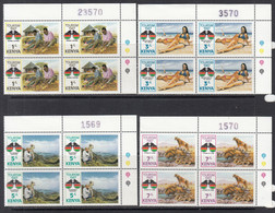 1987 Kenya Tourism Lions Safari Complete Set Of 4 In Attractive Corner Plate Blocks MNH - Kenya (1963-...)