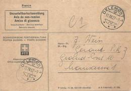 """Post Form 1210a  """"Unzustellbarkeitsmeldung""""  Delémont - Lausanne             1957 - Cartas"""