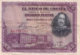 50 PESETAS  - EL BANCO DE ESPANA - MADRID  ,15 DE AGOSTO DE 1928 - - 50 Pesetas