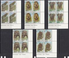 """1992 Kenya Wildlife """"Big 5"""" Lions Elephants Cats Complete Set Of 5 In Attractive Corner  Blocks MNH - Kenya (1963-...)"""