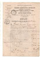 Avenant Police Société D'Assurances Mutuelles Mobilières Immobilières Contre L'incendie Et L'explosion De La Foudre 1860 - Banca & Assicurazione