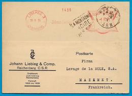 """1934 Courrier Commercial En Tête Johann LIEBIEG Reichenberg C.S.R. à """"Lavage De La Môle"""" 81 Mazamet Tarn ** EMA Daguin - Czechoslovakia"""