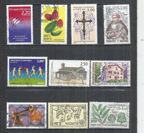 TEN AT A TIME - FRENCH ANDORRA - LOT OF 10 DIFFERENT COMMEMORATIVE 11 - USED OBLITERE GESTEMPELT USADO - Oblitérés