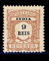 ! ! Portuguese India - 1904 Postage Due 9 R - Af. P06 - MH - Inde Portugaise