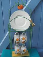 Service 4 Tasses Et Sous Tasses LA MANDARINE Sur Leur Support - Cups
