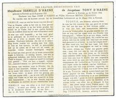 Isabelle D'Haene En Tony D'Haene - Luchtaanval 26 Maart 1944 - Oorlogsslachtoffers Omgekomen Te Kortrijk - Obituary Notices