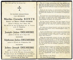 Martha Bonte -Joseph + Alphonse + Julien Delmeire - Luchtaanval 26 Maart 1944 -Oorlogsslachtoffers Omgekomen Te Kortrijk - Obituary Notices