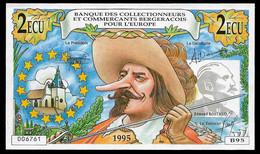 """1995 """"Banque Des Collectionneurs Et Commerçants Bergeracois Pour L'Europe"""" Billet Fictif 2 ECU Cyrano De Bergerac 24 - Specimen"""