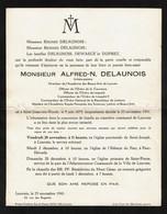 Faire-part De Décès Alfred.-N. DELAUNOIS Artiste-Peintre - Saint-Josse-ten-Noode 1875 / Heverlee 1941 - Voir Scan - Obituary Notices