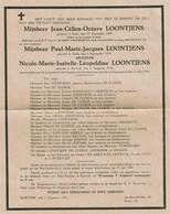 WW2 Guerre Victimes Civiles Jean-Céline-Octave LOONTJEN / Paul LOONTJENS / Nicole LOONTJENS - Courtrai 21/07/1944 - Obituary Notices