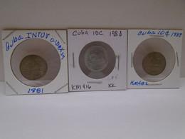 Cuba, (3) 0.10, Centavos 1981,1988,1989, INTUR, XF. Gracias Por Visitar Mi Pagina. - Cuba