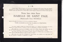 ALSEMBERG Isabelle De Saint Paul Née Claire MICHIELS 1950 Avis Mortuaire A5 Moniales Déchaussées De L'ordre Mont-Carmel - Obituary Notices