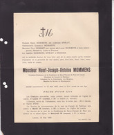 OLNE LONCIN MOMMENS Henri-Joseph 61 Ans 1920 SPIRLET DESSART REGNIER Président Hospices - Obituary Notices