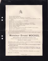 LIEGE MARCINELLE MOCKEL Ernest Directeur Charbonnages De Marcinelle-Nord 1843-1896 CREPY BABUT Du MARES SCHWARTZ - Obituary Notices