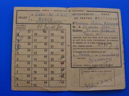 SNCF - Titre De Transport Abonnements Hebdomadaires & Mensuels =>Trajet Travail-GARE DE L'EST // MEAUX-PARIS 1973-IVRY - Week-en Maandabonnementen