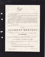 TOURNAI EECKEREN Hélène DU MORTIER épouse Clément MERTENS 1851-1919 Famille VALLEZ - Obituary Notices
