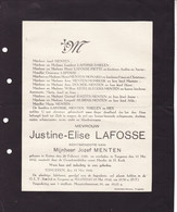 RUTTEN TONGEREN LAFOSSE Justine épouse MINTEN 1920-1942 Famille THIELEN MOMBEEK MONARD HEX - Obituary Notices