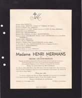 TURNHOUT HASSELT CROONEBERGHS Hélène épouse Henri MERMANS 61 Ans 1933 Famille Van NYEN GOETSBLOETS - Obituary Notices