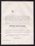 EVERE MISSON Gustave Veuf De ROSEN De DILSEN 71 Ans 1879 Famille Du FONTBARE De FUMAL WIDMER ROBYNS D'INKENDALE - Obituary Notices